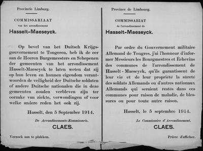 Hasselt, Provincie Limburg, affiche van 5 september 1914 - burgemeesters en schepenen staan garant voor veiligheid.