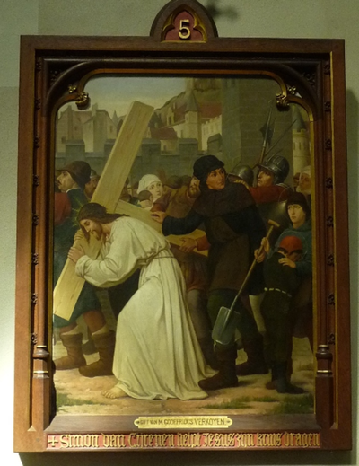 Statie 5: Simon van Cyrene helpt Jezus zijn kruis dragen.
