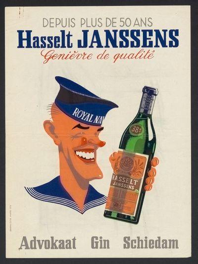 Affiche 'Depuis plus de 50 ans, Hasselt Janssens' voor stokerij Janssens, Brussel, ca. 1945