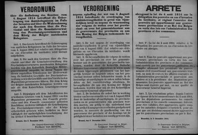 Brussel, affiche van 3 december 1914 - overdracht ambtsbevoegdheden.