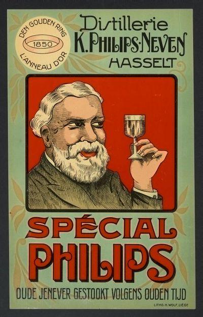 Interieuraffiche 'Distillerie K. Philips-Neven, Hasselt' voor stokerij Philips-Neven, Hasselt, ca. 1935