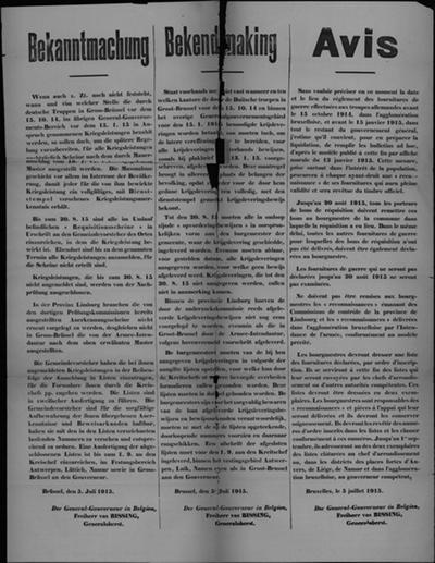 Brussel, affiche van 5 juli 1915 - bewijzen van levering voor uitbetaling.
