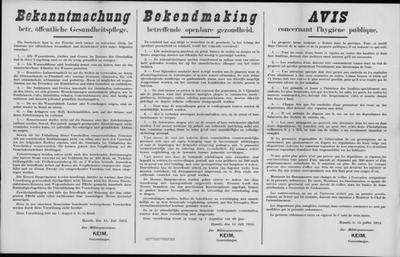 Hasselt, affiche van 15 juli 1915 - verordening onderhoud grachten, sloten en afvoerbuizen.