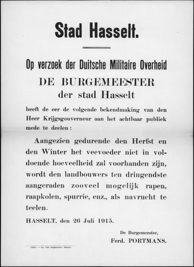 Stad Hasselt, affiche van 26 juli 1915 - oproep rapen en andere vruchten telen voor tekort aan veevoeder.