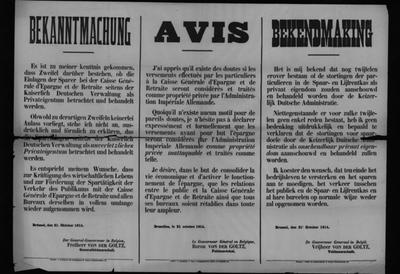 Brussel, affiche van 21 oktober 1914 - spaartegoeden ASLK particulier eigendom.