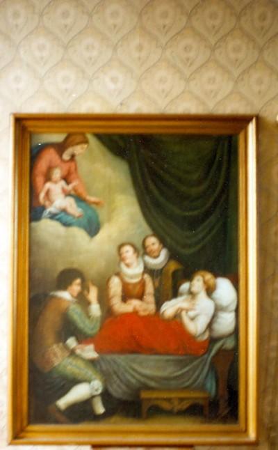 verschijning Onze-Lieve-Vrouw met kind Jezus aan zieke in bed