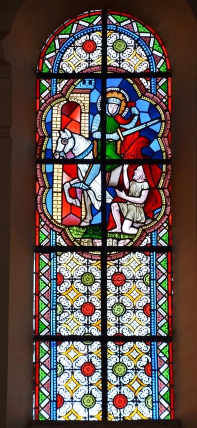 Drie glasramen met het leven van Sint-Martinus