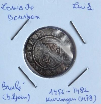 Brûlé, geslagen te Kuringen, 1456-1482, Lodewijk van Bourbon,biljoen