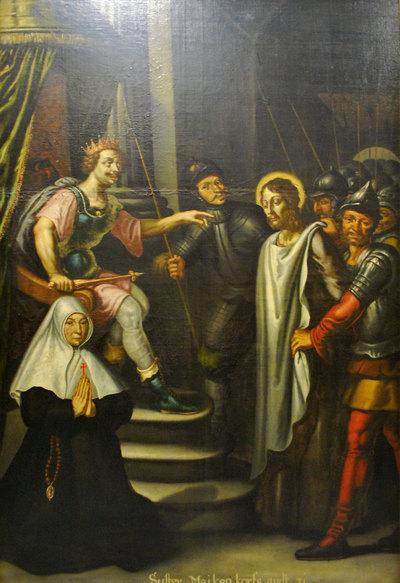 Jezus voor Herodes, met schenkersportret van een kloosterzuster