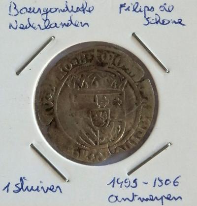 Stuiver, geslagen te Antwerpen,1499-1506, Filips de Schone, Bourgondische Nederlanden, zilver