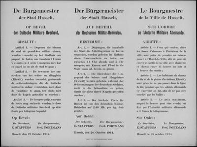 Stad Hasselt, affiche van 28 oktober 1914 - paspoort ruimers beerputten; uit vuurlinie blijven; prijs boter.