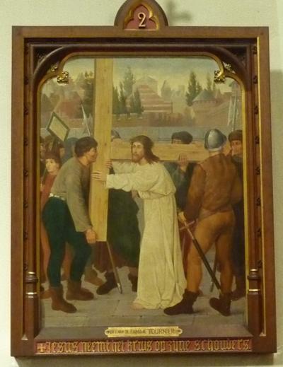 Statie 2: Jezus neemt het kruis op zijne schouders.