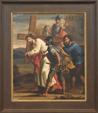 Schilderij kruisweg vijfde statie
