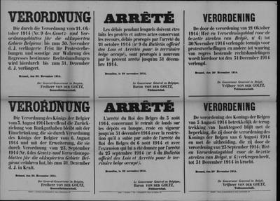 Brussel, affiche van 20 november 1914 - verordeningen banktegoeden.