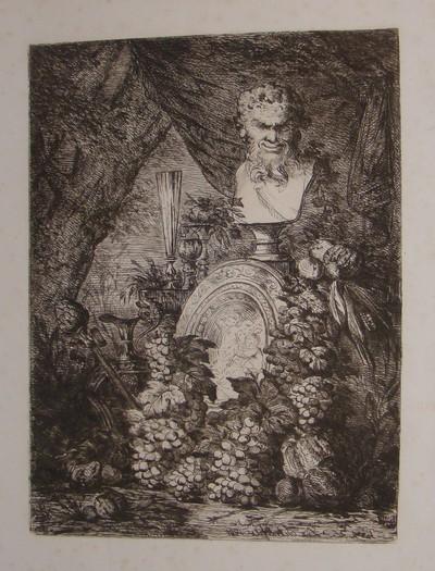 Ets van een bacchusbuste door Lucas Schaefels (1824-1885), 1881