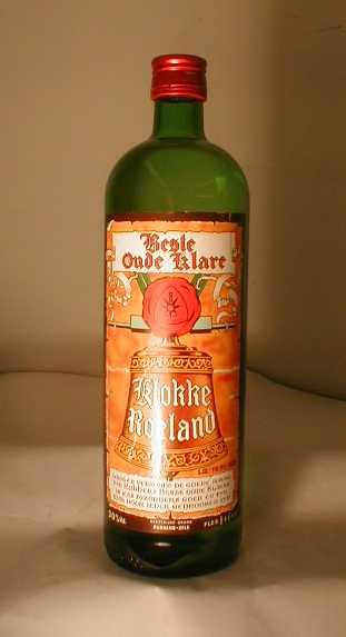 Jeneverfles 'Beste Oude Klare, Klokke Roeland' voor Rubbens, Zele, ca. 1990-1999