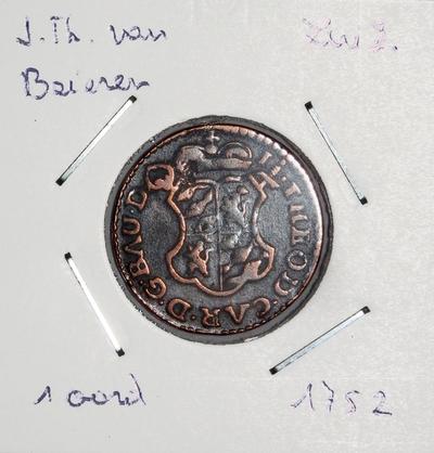 1 Oord, geslagen te Luik, 1752, Johan-Theodoor van Beieren, koper