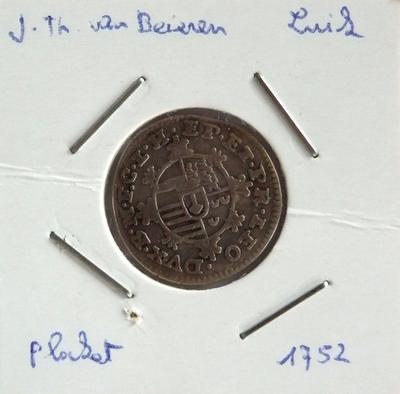 1 Plaket, geslagen te Luik, 1752, Johan-Theodoor van Beieren, zilver
