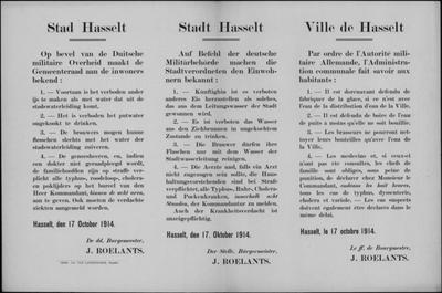 Stad Hasselt, affiche van 17 oktober 1914 - putwater, leidingwater, besmettelijke ziekten.