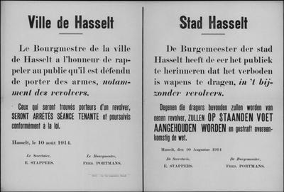 Stad Hasselt, affiche van 10 augustus 1914 - verbod om wapens te dragen.