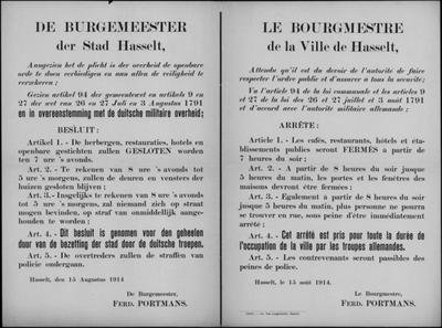 Stad Hasselt, affiche van 15 augustus 1914 - verplicht sluitingsuur en uitgaansverbod.