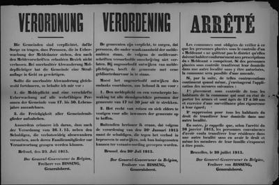 Brussel, affiche van 20 juli 1915 - regels inzake meldingsplicht door inwoners.