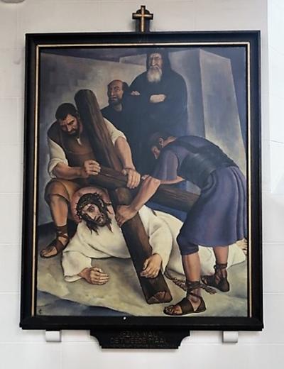 Kruiswegstatie VII: Jezus valt voor de tweede maal onder het kruis