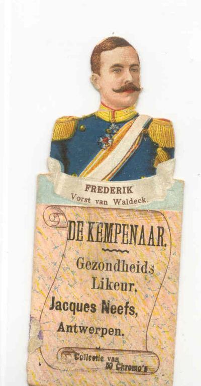 Verzamelkaart 'Frederik, Vorst van Waldeck' voor Elixir De Kempenaar van stokerij Neefs, Antwerpen