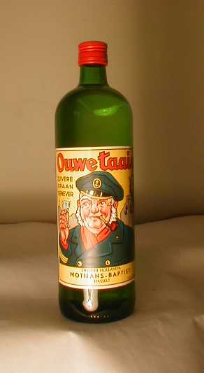 Jeneverfles 'Ouwe taaie, zuivere graan genever' voor Motmans, Hasselt, 1996