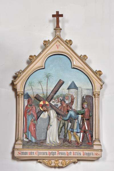 Simon van Cyrenen helpt Jesus het kruis dragen