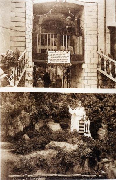 Foto: straatversiering: Onze-Lieve-Vrouw en de Dief op het hek (locatie onbekend) en Onze-Lieve-Vrouw beschermt Hasselt, Kapelstraat (Virga Jessefeesten, Hasselt, 1926)