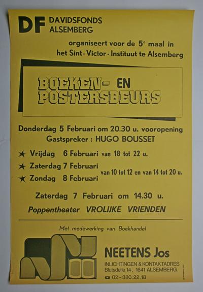 Affiche van de boeken- en posterbeurs van het Davidsfonds Alsemberg in 1987