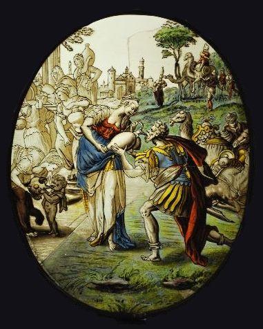 Rebecca geeft te drinken aan de dienaar van Abraham
