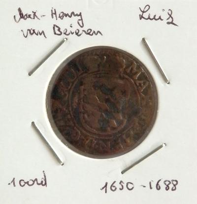 1 Oord, geslagen te Hasselt?, 1650-1688, Maximiliaan-Hendrik van Beieren, koper