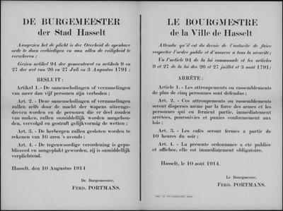 Stad Hasselt, affiche van 10 augustus 1914 - samenscholingsverbod en verplichte sluiting herbergen.