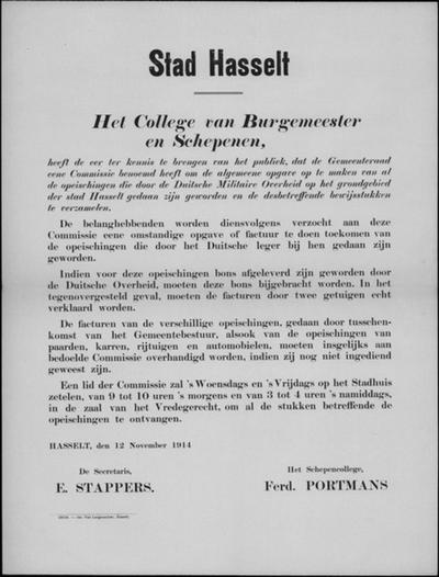 Stad Hasselt, affiche van 12 november 1914 - overzicht van opeisingen.