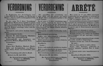 Brussel, affiche van 22 juli 1915 - verbod op uitvoer dieren en producten.