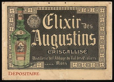 Pancarte 'Elixir des Augustins' voor stokerij Bleunar, Mons, ca. 1895-1905