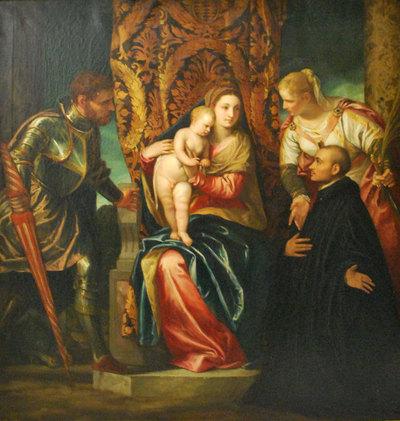 Maria met kind, twee heiligen en een geestelijke