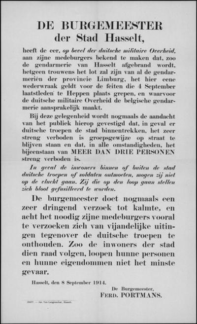 Stad Hasselt, affiche van 8 september 1914 - wraak voor gebeurtenissen in Heppen en verbod op samenscholing en op de vlucht slaan.