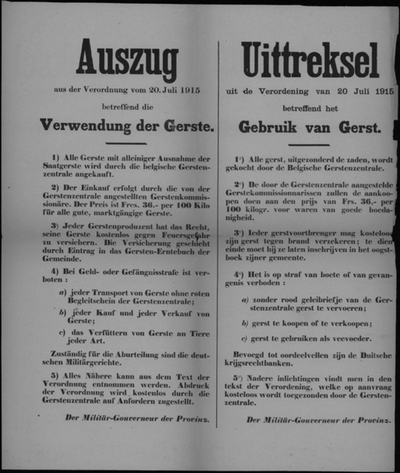 Hasselt, Provincie Limburg, affiche van 20 juli 1915 - gebuik, opeisingen en handel in gerst.