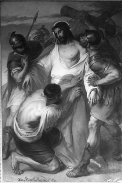 10e statie van de kruisweg, Jezus wordt van zijn klederen beroofd