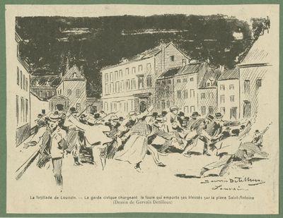 La fusillade de Louvain. La garde civique chargeant la foule qui emporte ses blessés sur la place Saint-Antoine (Dessin de Gervais Detilleux)
