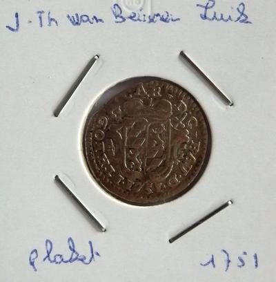 1 Plaket, geslagen te Luik, 1751, Johan-Theodoor van Beieren, zilver