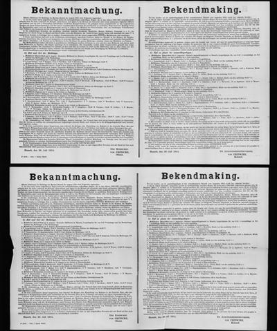 Hasselt, affiche van 20 juli 1915 - controle meldingsplichtige inwoners.