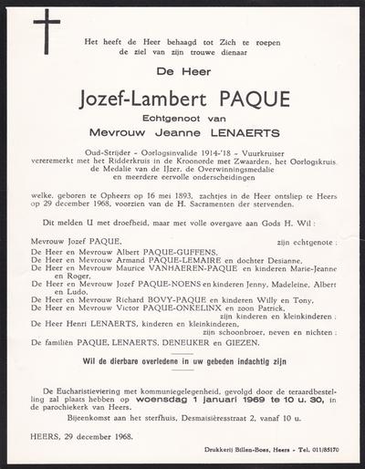 Overlijdensbericht van Paque, Joseph.