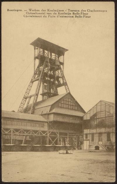 Beeringen. - Werken der Koolmijnen - Travuax des Charbonnages Ophaaltoestel van de Koolmijn Belle-Fleur Chevalement du Puits d'extraction Belle-Fleur