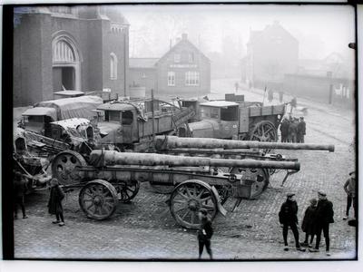 Duitse terugtocht. Markt Herk-de-Stad (1918).