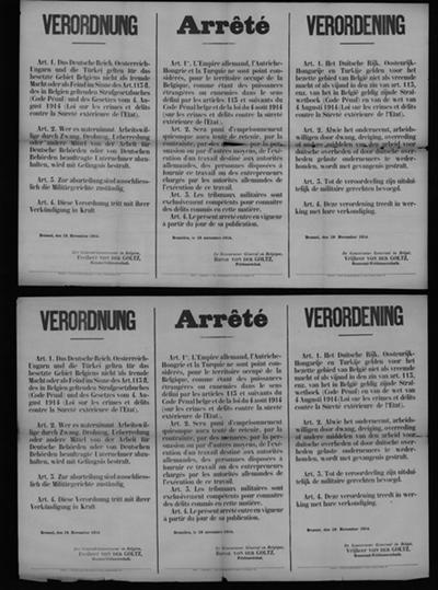 Brussel, affiche van 19 november 1914 - vijandelijke mogendheden; tegenhouden arbeiders.