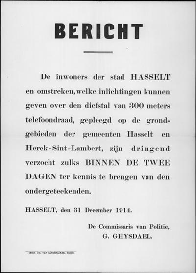 Hasselt, affiche van 31 december 1914 - diefstal telefoondraad.